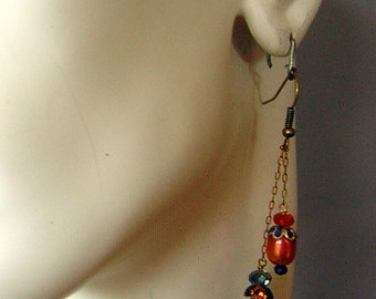 Midnight Blue Orange Earrings upcycled Real FW Pearls & Vintage Findings - Hand Made for Pierced Ears