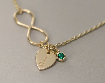 Solid Gold Infinity Necklace with gemstone - Personalized Jewelry.