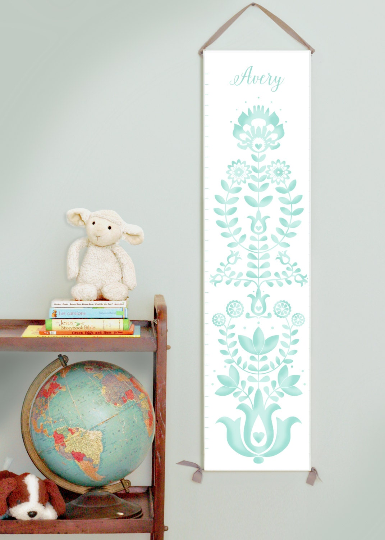 Custom/ Personalized folk art  blue canvas growth chart for gender neutral nursery