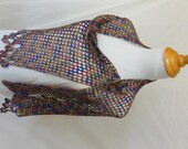 Flower edge shawl alpaca silk blend olive green cobalt blue and pink ACS