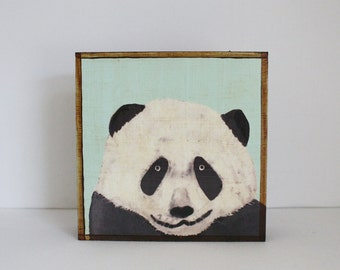 panda wall art- nursery decor- kids room decor- mint nursery art block- redtilestudio- art for a kids room