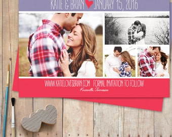 Photo Save The Date Postcard or Rustic Save The Date Magnet - Heart Quote