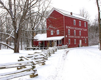 Bowen's Cider Mill during Winter in Yankee Springs near Gun Lake in Michigan No.00084 -  A Fine Art Landscape Photograph