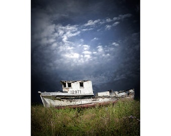Abandoned Wood White Fishing Boat in Washington State near the Olympic National Forest No.02579 A Nautical Seascape Photograph