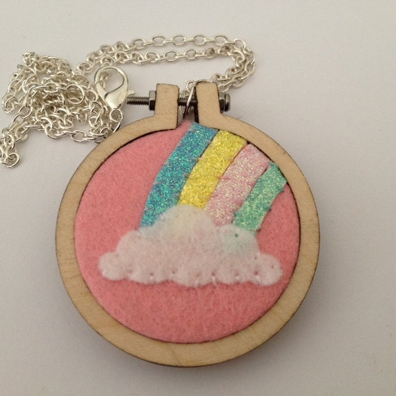 Wooden Circle Embroidery Hoop Pastel Glitter Rainbow with Cloud Pendant Necklace