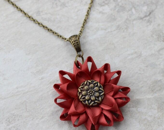 Burnt Orange Necklace, Rustic Necklace, Rust Necklace, Rustic Jewelry, Antique Bronze Necklace, Cute Pendant Necklace, Rust Colored Jewelry