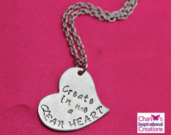 Psalm 51:10 Create in Me Scripture Hand stamped necklace