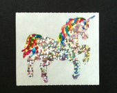 Rare Hambly Stickers: Unicorn - Collection Vintage Glitter Retired Hard to Find Mythical Horse Rainbow Fantasy Animal Silver New Collector