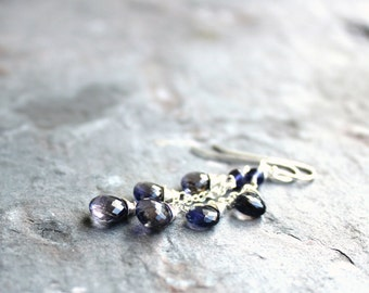 Cascade Iolite Earrings Denim Blue Briolette Earrings Sterling Silver Water Sapphire Gemstone