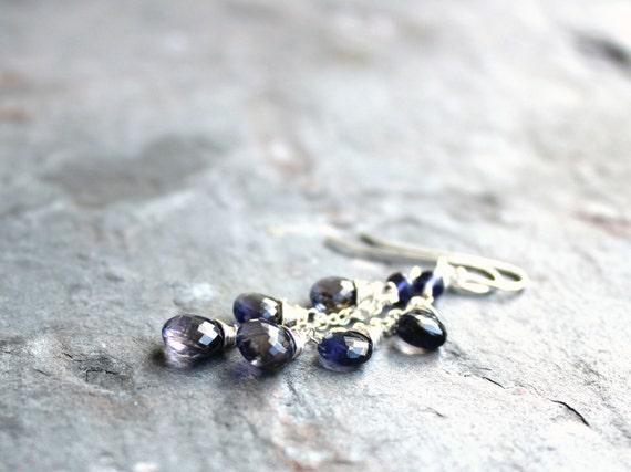 Cascade Iolite Earrings Denim Blue Briolette Earrings Sterling Silver Water Sapphire Gemstone