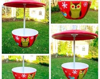 Hanging Treat Bird Feeder, Winter Owl and Bluebird, Melamine