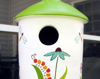 Ceramic Birdhouse, Flowers and Bugs Design, Pottery