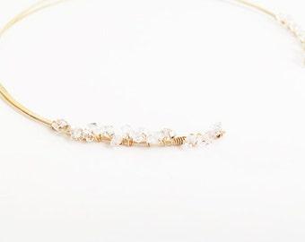 14 Karat Herkimer Diamond Open Cuff Necklace Gold Filled Collar Bone Dainty Stone Faceted Gem Quartz Crystal Grade AAA