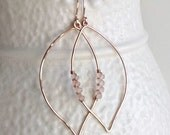 Rose Gold Leaf Earrings, Rose Quartz Hoops, Silver Leaf Hoops, Rose Gold Filled Hoops, Leaf Hoop Earrings, Nature Jewelry