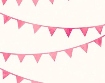 Pink Nursery Decor, Bunting Pink Nursery Print for Baby Girl Nursery - 8x10 / A4 Art Print, Baby Girl Decor, Kids Wall Art