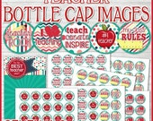 TEACHER Bottle Cap Images, 1 INCH Round Images, School Inchie - PRINTABLE Instant Download