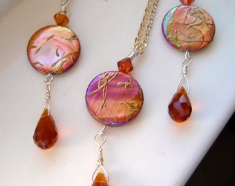Burnt Almond Shells with Copper Swarovski Crystal Necklace and Earrings, Copper Shells