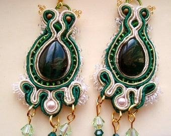 Green and gold soutache earrings, lime earrings, soutache earrings, white pearl earrings, gold earrings