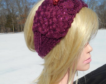 Purple,Violet Headband,  Bow Applique, Sequins, Ear Warmer, Fashion Winter Headband,