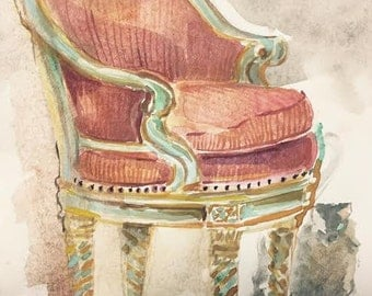 French chair in salmon fabric by Kristy Edwards
