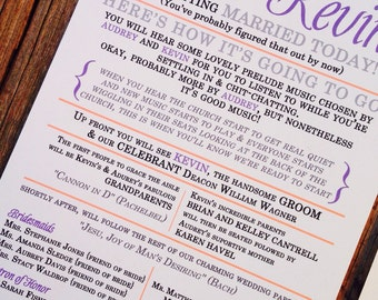 Fun Wedding Program - Print Your Own | Digital file | printable wedding programs