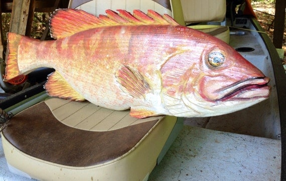 """Red Grouper 36"""" chainsaw wood carving sport fishing saltwater fish wall mount Ocean Arts sculpture nautical accent home or restaurant decor"""