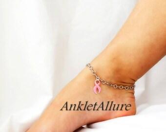 Pink Ribbon Anklet Breast Cancer Awareness Crystal Anklet Silver Ankle Bracelet