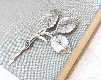 Silver Branch Bobby Pins Antique Silver Leaf Hair Pin Bridesmaid Gift Leaf Bobbies Garden Wedding Leaves for Hair Vintage Style Bridal