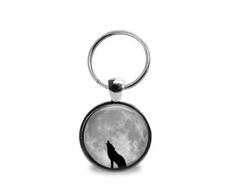Glass Tile Keyring Wolf Keyring Glass Tile Silver Keyring Glass Tile Pendant