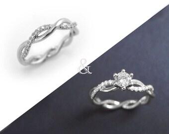 Diamond infinity ring bridal set, Infinity knot engagement and wedding ring set, Infinity engagement ring set, Infinity diamond engagement