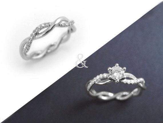 diamond infinity ring bridal set infinity knot engagement and wedding ring set infinity engagement - Infinity Wedding Ring Set