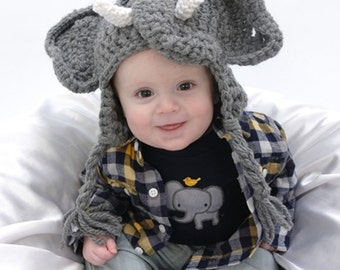 Boy Elephant Hat Photo Prop - Baby Elephant Hat  - Halloween Costume Elephant - Infant Halloween Costume - by JoJo's Bootique