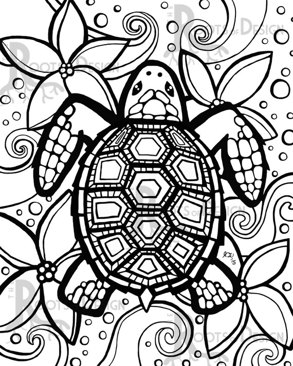 free turtle coloring pages | INSTANT DOWNLOAD Coloring Page Turtle zentangle by RootsDesign