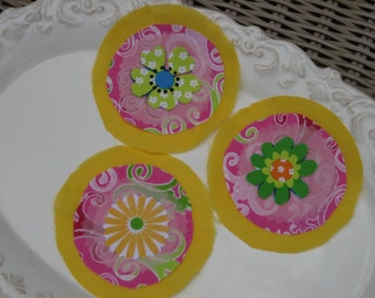 Bright Handmade Fabric Flower Adornments, Roundies, Embellishments, Appliques, Yellow, Pink, Green