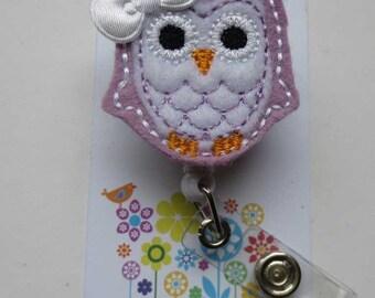 Lavender & White Owl Badge Reel - Retractable Badge Reel
