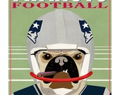 New England Patriots Pug Dog Football Player - Super Bowl Champions