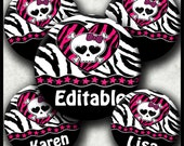 INSTANT DOWNLOAD Editable PDF Girly Zebra Skull (407) 4x6 Bottle Cap Images Printable Digital Collage Sheet hair bows glasss cabochon images