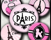 INSTANT DOWNLOAD Paris (225) 4x6 Bottle Cap Images Printable Digital Collage Sheet glass tiles hair bows bottlecaps glass cabochon images