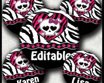 INSTANT DOWNLOAD Editable PDF Girly Zebra Skull (407) 4x6 Bottle Cap Images Printable Digital Collage Sheet hair bows glasss cabochon images