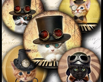 INSTANT DOWNLOAD Steampunk Cat (732) 4x6 1 inch round Bottle Cap Images Printable Digital Collage Sheet glass tile hair bows cabochon images