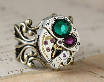 Mothers Ring Antique Brass Birthstone Ring CUSTOM Steampunk Ring Personalized Jewelry Steampunk Jewelry Grandmothers Ring Unique Ring Steam