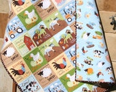 Farm Quilt, Boy or Girl Crib Bedding, Tractor Blanket, Earth Tones, Cows Horses Animals, Barn Country Life Gender Neutral, Toddler Bed Quilt