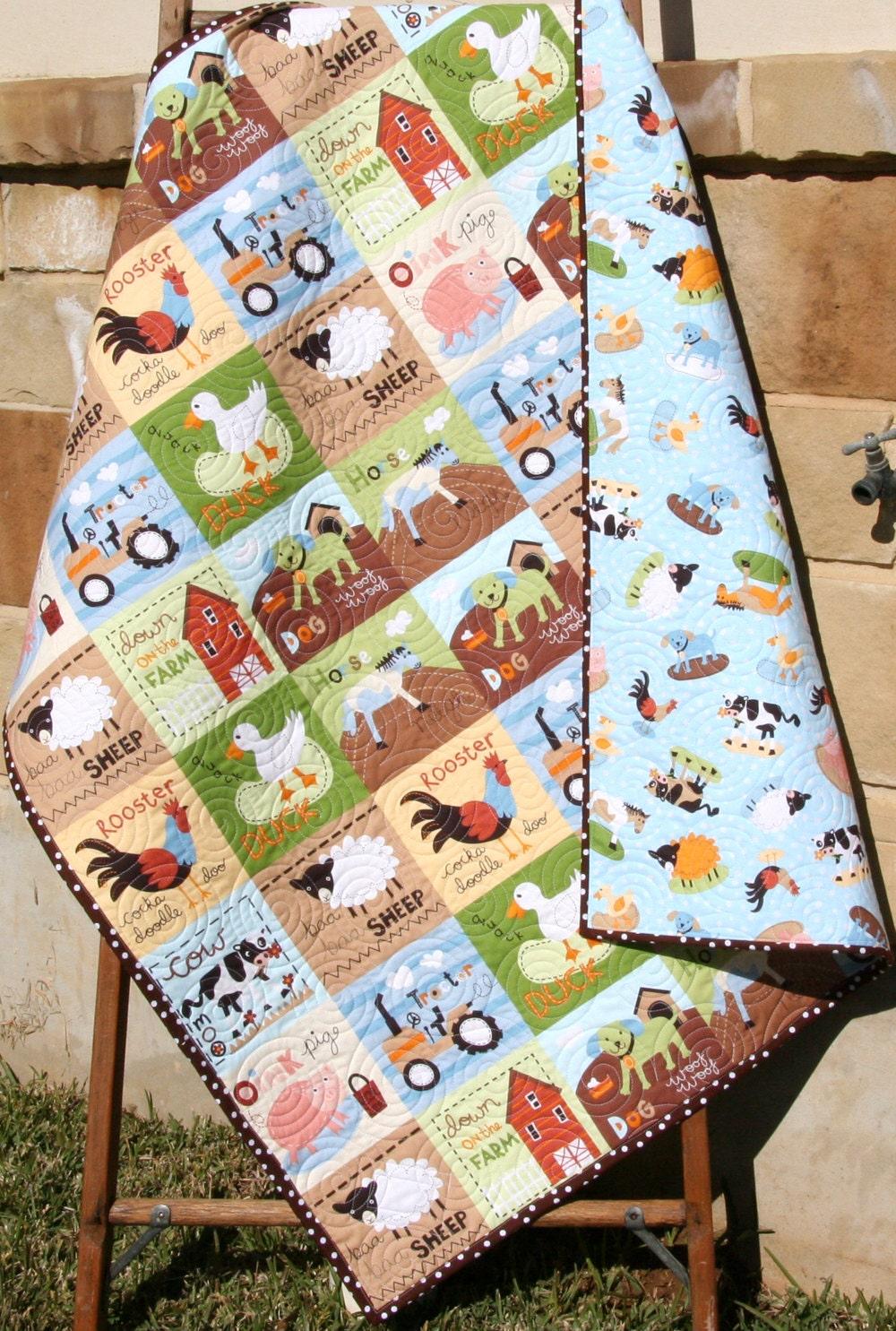 Last One Farm Quilt Boy Or Girl Crib Bedding By