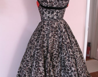 1950's Rockabilly Dress, Black & Red with Lace