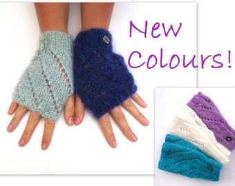 Mohair handwarmers / fingerless gloves , bright coloured gloves ,  warm fluffy wrist warmers ,  hand knit gloves , winter accessory
