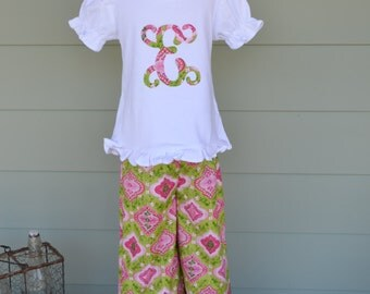 Girls Ruffle Pants & tee in pretty in pink fabric with 1 or 3 letter monogram option custom made by Baby Harrill