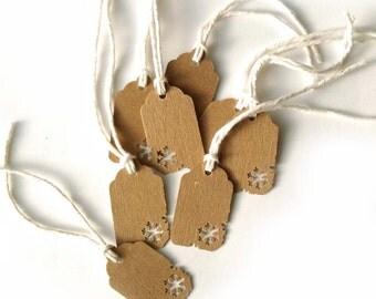 "50 Kraft Snowflake Christmas, Holiday Gift Tags 1  1/2"" x 15/16"" 65lb Repurposed Cardstock Paper"