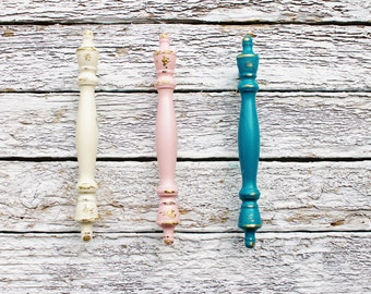 French Teal Finial Cabinet Door Pulls-Distressed-Petite Drawer Handle-Spring Home Decor-Soft Pink-Cupboard Knobs 3 inch mounting-Shabby Pull