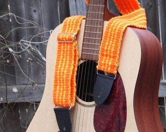 Adjustable Guitar Strap - Neon Orange - Handwoven