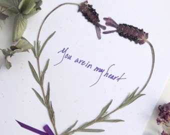 Lavender Card, Pressed Flowers Cards, Love Card, You Are In My Heart Romance Card